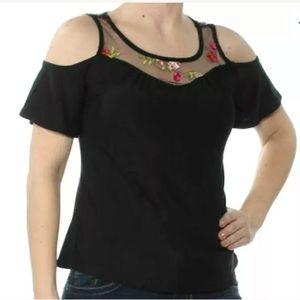 Black Floral Embroidered Cold Shoulder Top S